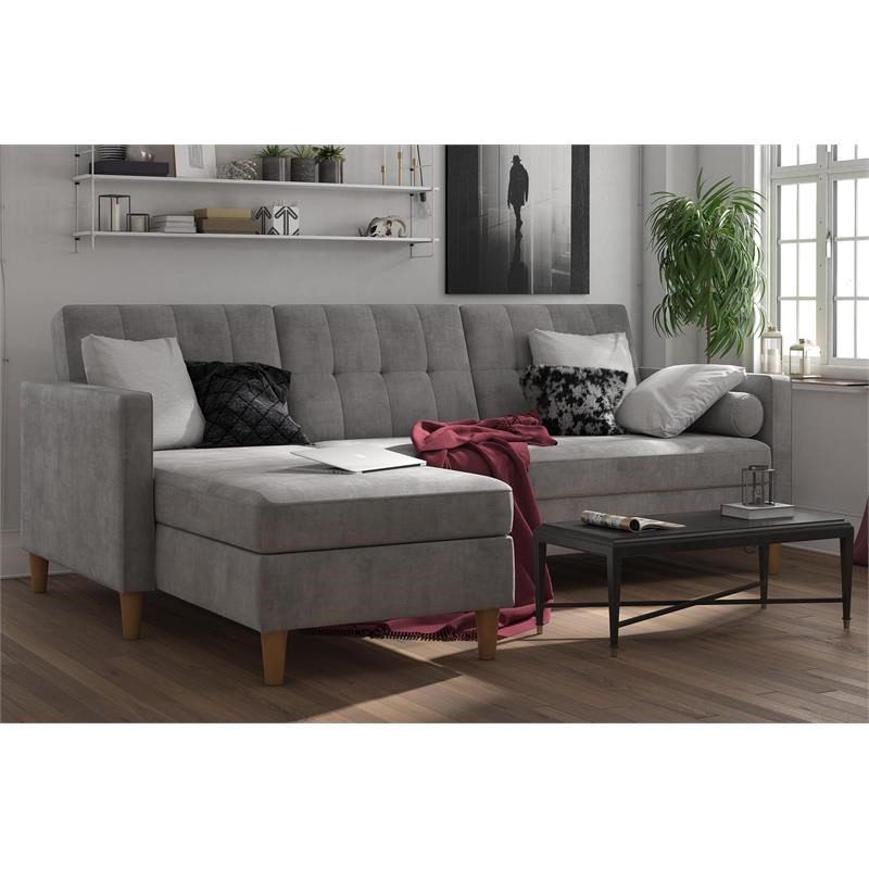 Dhp Hartford Storage Sectional Futon With Chaise In Gray Regarding Hugo Chenille Upholstered Storage Sectional Futon Sofas (View 11 of 15)