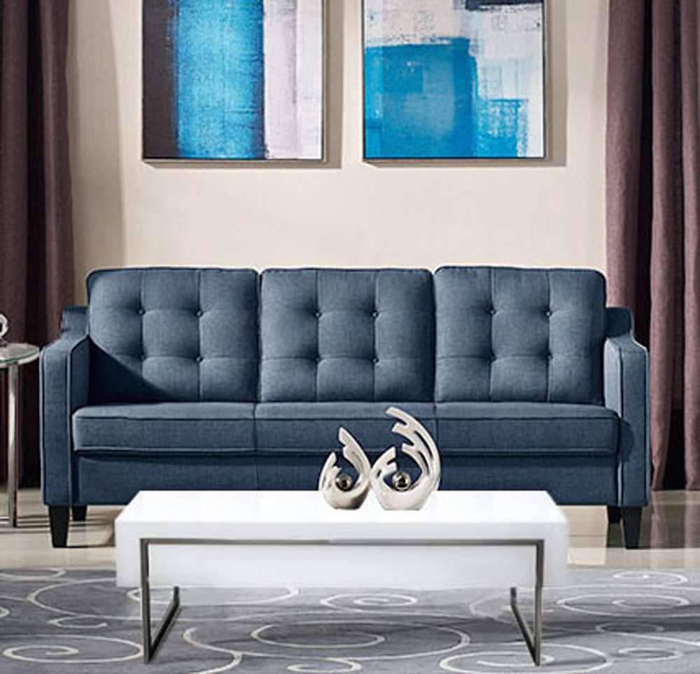 Diamond Sofa – Lucas Sofa In Blue Fabric With Tufted Back Regarding Fabric Sofas (View 2 of 15)