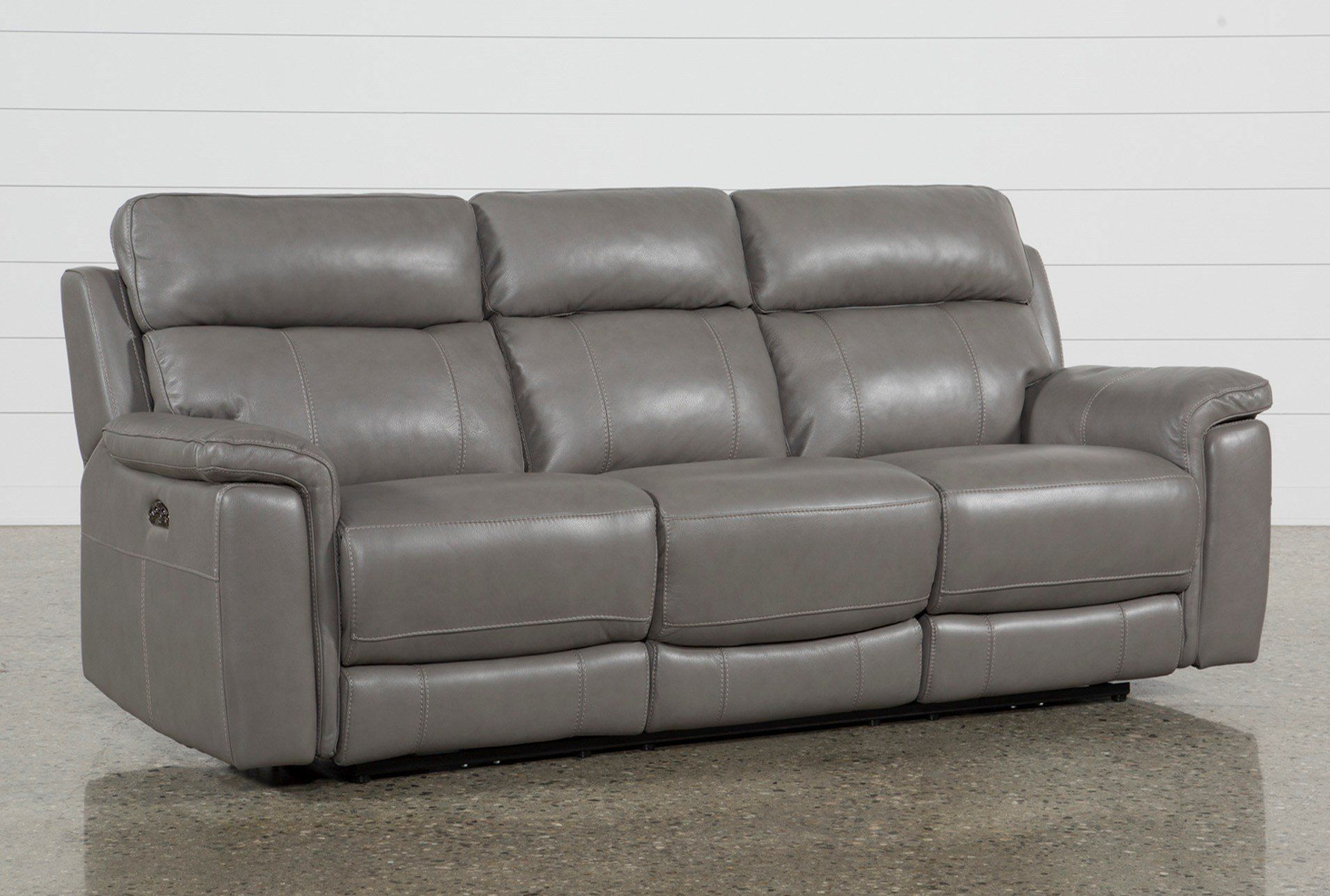 """Dino Grey Leather 91"""" Power Reclining Sofa With Power In Pacifica Gray Power Reclining Sofas (View 7 of 15)"""