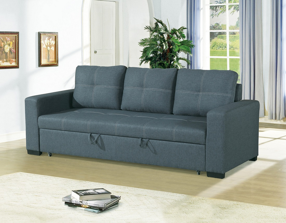 Dionisia Blue Grey Linen Like Fabric Convertible Sofa With Polyfiber Linen Fabric Sectional Sofas Dark Gray (View 5 of 15)