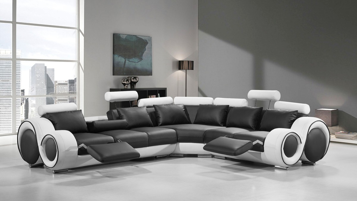 Divani Casa 4087 Modern Black And White Bonded Leather In Contemporary Sofas And Chairs (View 12 of 15)