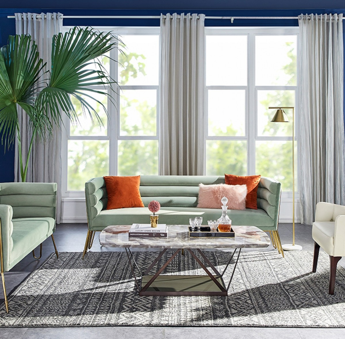 Divani Casa Bixby Modern Light Green Velvet & Gold Sofa Throughout Sofas And Chairs (View 15 of 15)