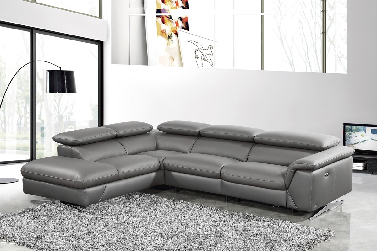 Divani Casa Maine – Modern Dark Grey Eco Leather Left In Dove Mid Century Sectional Sofas Dark Blue (View 4 of 15)