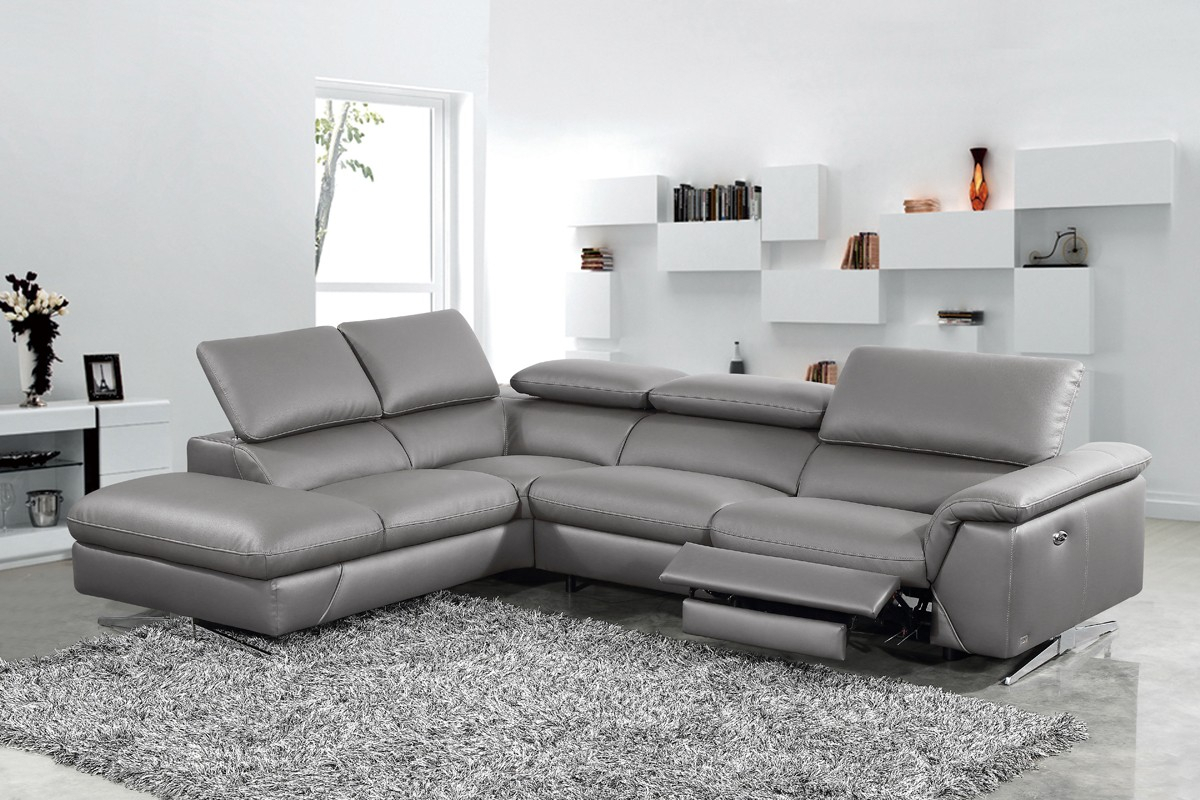 Divani Casa Maine Modern Dark Grey Eco Leather Sectional Pertaining To Grey Sofa Chairs (View 14 of 15)