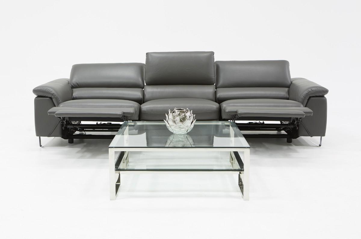 Divani Casa Maine Modern Grey Eco Leather Sofa W/ Electric Inside Ludovic Contemporary Sofas Light Gray (View 8 of 15)