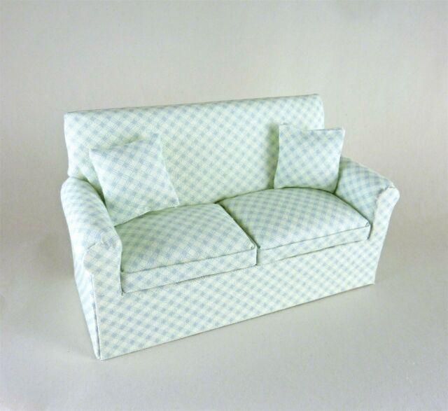 Dollhouse Miniature Artisan Light Blue Green Sofa | Ebay Inside Artisan Blue Sofas (View 1 of 15)