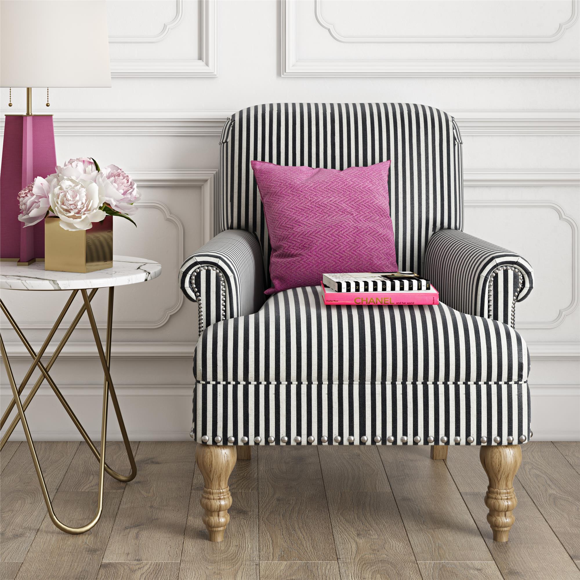 Dorel Living Jaya Accent Chair, Black Stripe – Walmart Regarding Striped Sofas And Chairs (View 4 of 15)