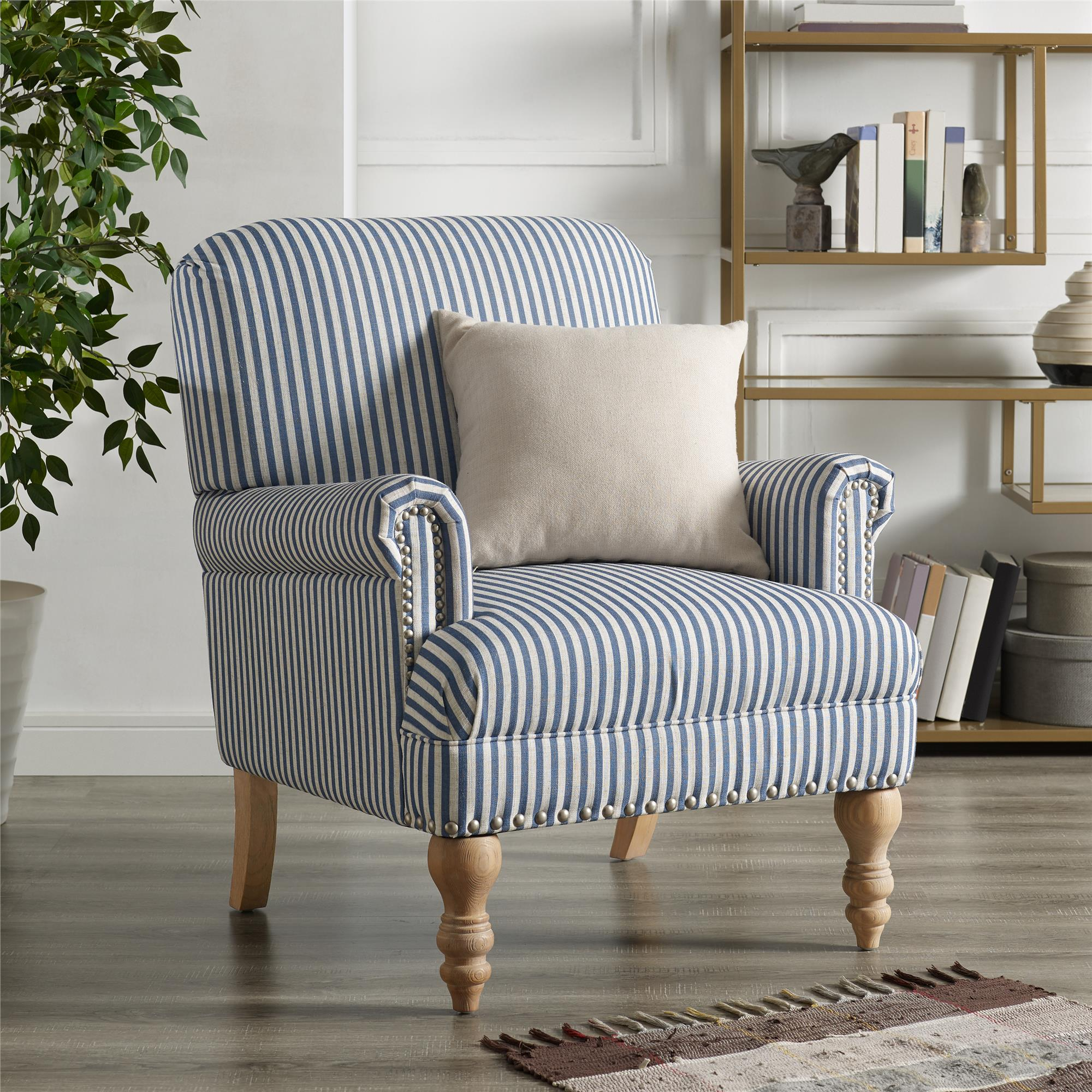 Dorel Living Jaya Accent Chair, Blue Stripe – Walmart Intended For Striped Sofas And Chairs (View 3 of 15)