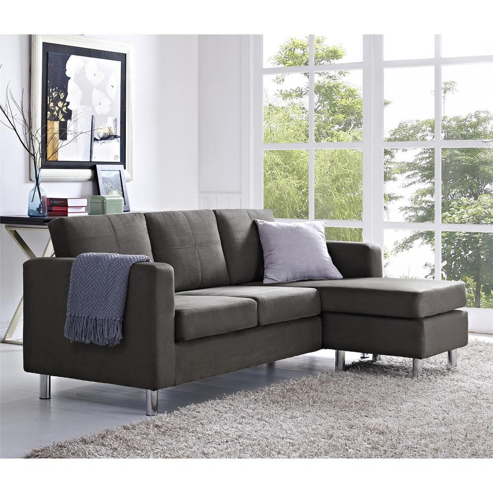 Dorel Small Spaces 2 Piece Configurable Gray Sectional Inside Palisades Reversible Small Space Sectional Sofas With Storage (View 2 of 15)