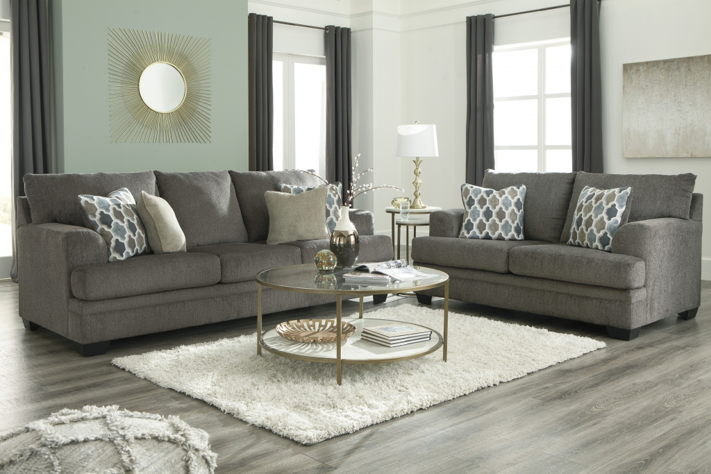 Dorsten Slate Sofa And Loveseat | Fabric Living Room Sets For Sofas And Chairs (View 7 of 15)