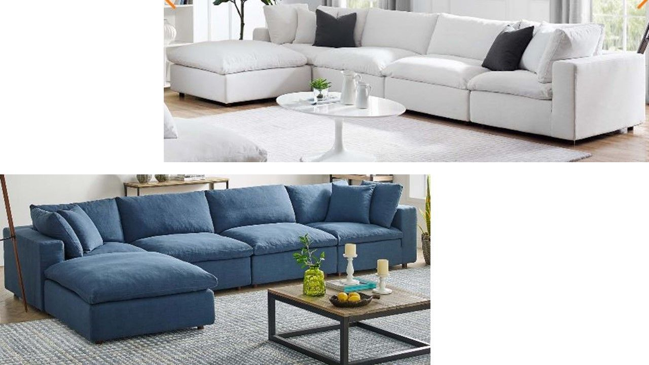 Down Filled Sectionals Modway Furniture Living Room L Throughout Down Filled Sectional Sofas (View 2 of 15)