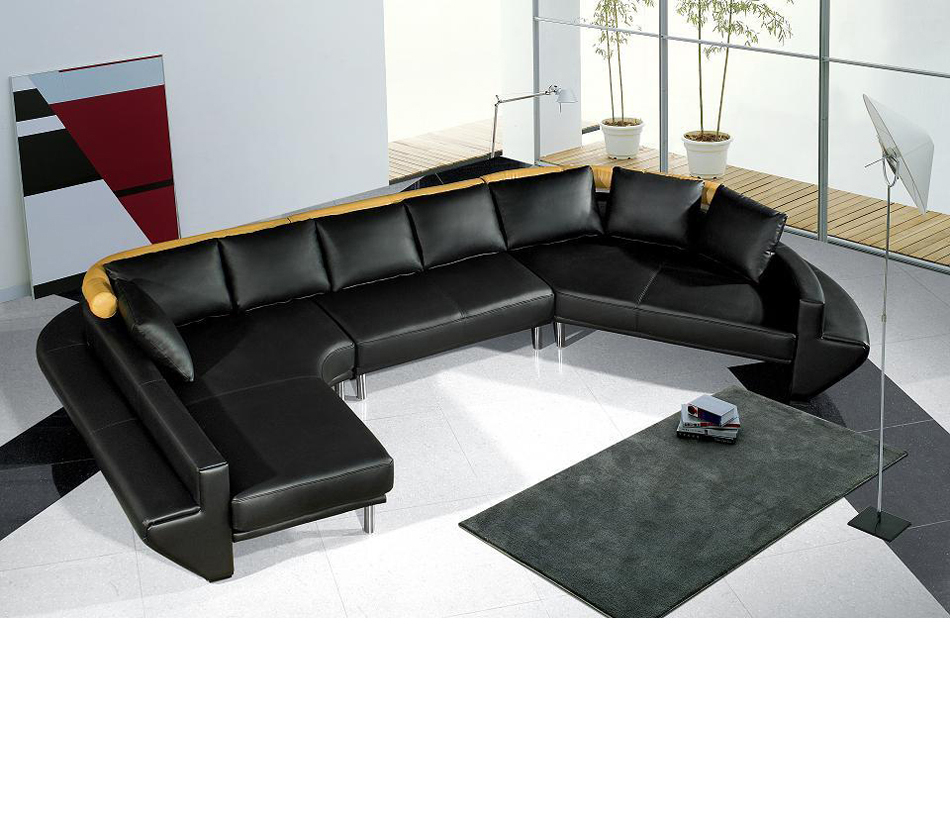 Dreamfurniture – Mars Ultra Modern Black Leather For Wynne Contemporary Sectional Sofas Black (View 11 of 15)