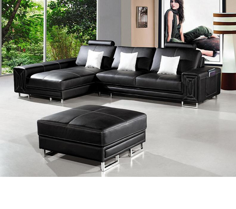 Dreamfurniture – T957 – Modern Black Leather Sectional In Wynne Contemporary Sectional Sofas Black (View 9 of 15)
