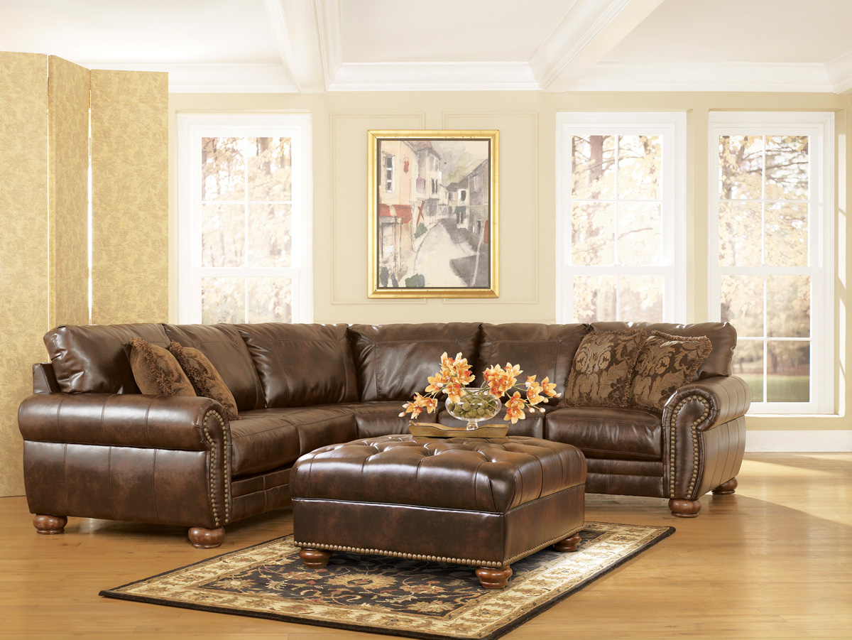 Durablend Traditional Antique Brown Sectional Sofaashley Throughout 3Pc Bonded Leather Upholstered Wooden Sectional Sofas Brown (View 10 of 15)
