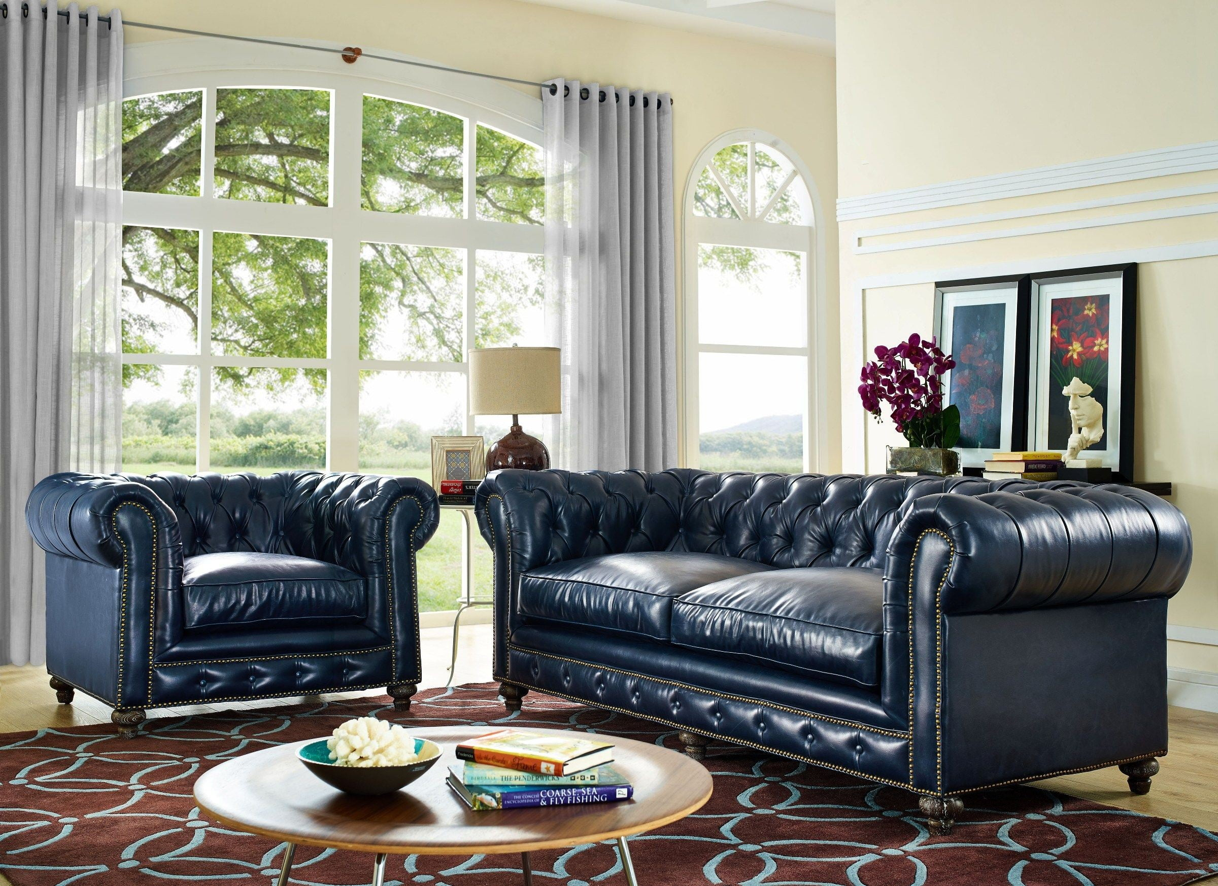 Durango Rustic Blue Leather Sofa From Tov (S38) | Coleman With Regard To Blue Sofa Chairs (View 11 of 15)