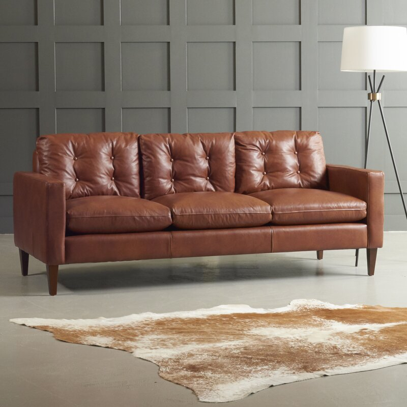 Dwellstudio Florence Leather Sofa & Reviews | Wayfair Throughout Florence Mid Century Modern Right Sectional Sofas Cognac Tan (View 6 of 15)