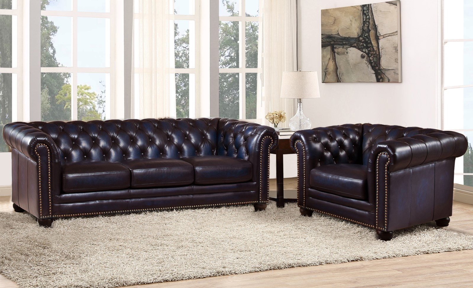 Dynasty 100% Genuine Leather Chesterfield Sofa & Armchair Regarding Leather Chesterfield Sofas (View 3 of 15)