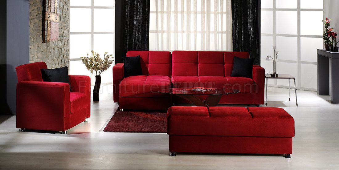 Elegant Convertible Sectional Sofa W/Storages In Red Inside Elegant Sectional Sofas (View 4 of 15)