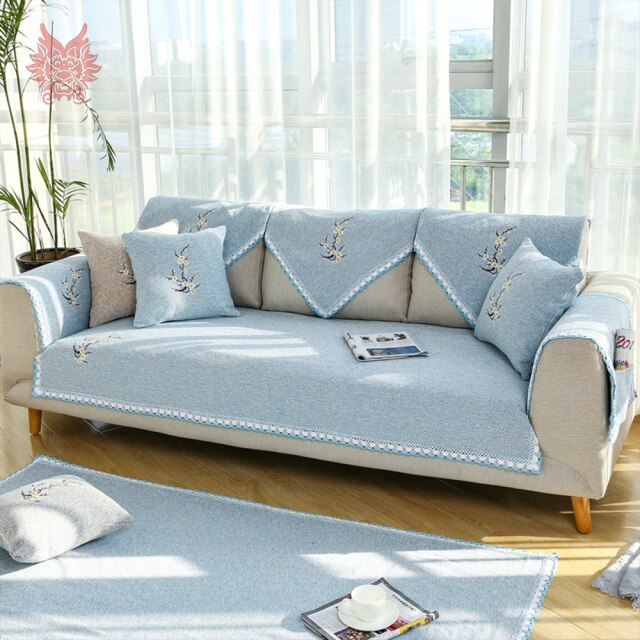 Elegant Floral Embroidery Grey Beige Cotton Weaving With Elegant Sectional Sofas (View 12 of 15)