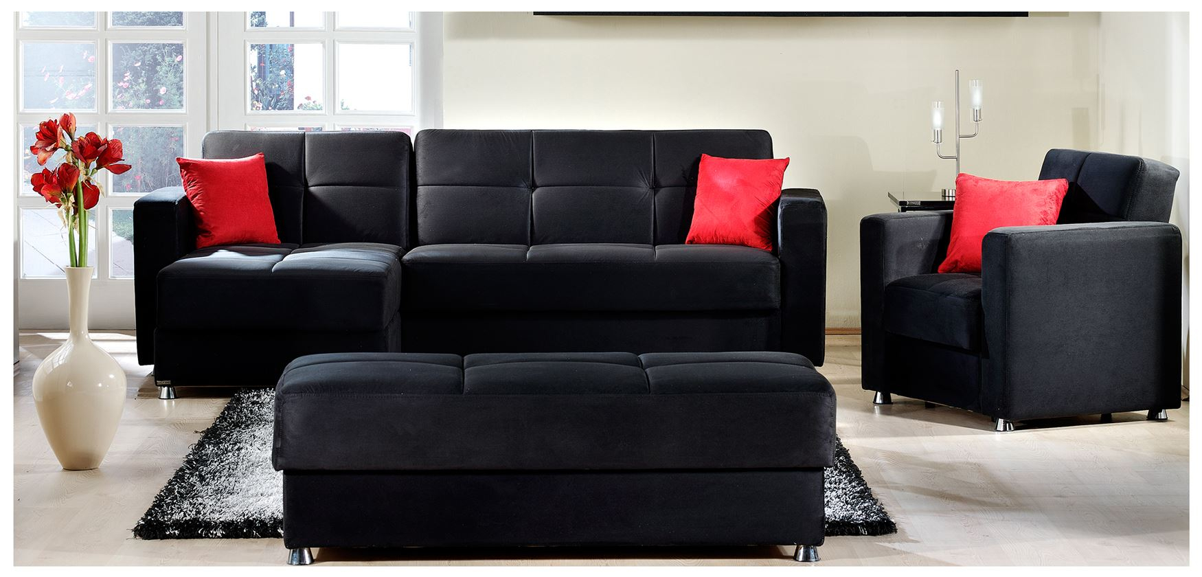 Elegant Rainbow Modern Black Sectional/Sofa Bed In Leather Within Elegant Sectional Sofas (View 2 of 15)