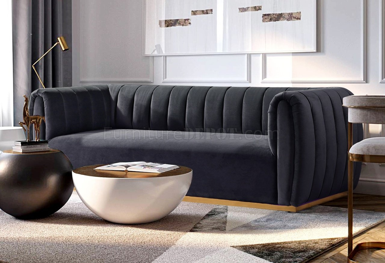 Elizabeth Sofa In Charcoal Grey Velvet Fabric Inside Charcoal Grey Sofas (View 5 of 15)