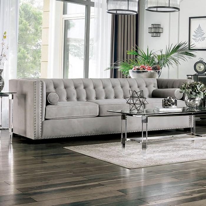 Elliot Light Gray Button Tufted Elegant Sofa Throughout Elegant Sectional Sofas (View 6 of 15)