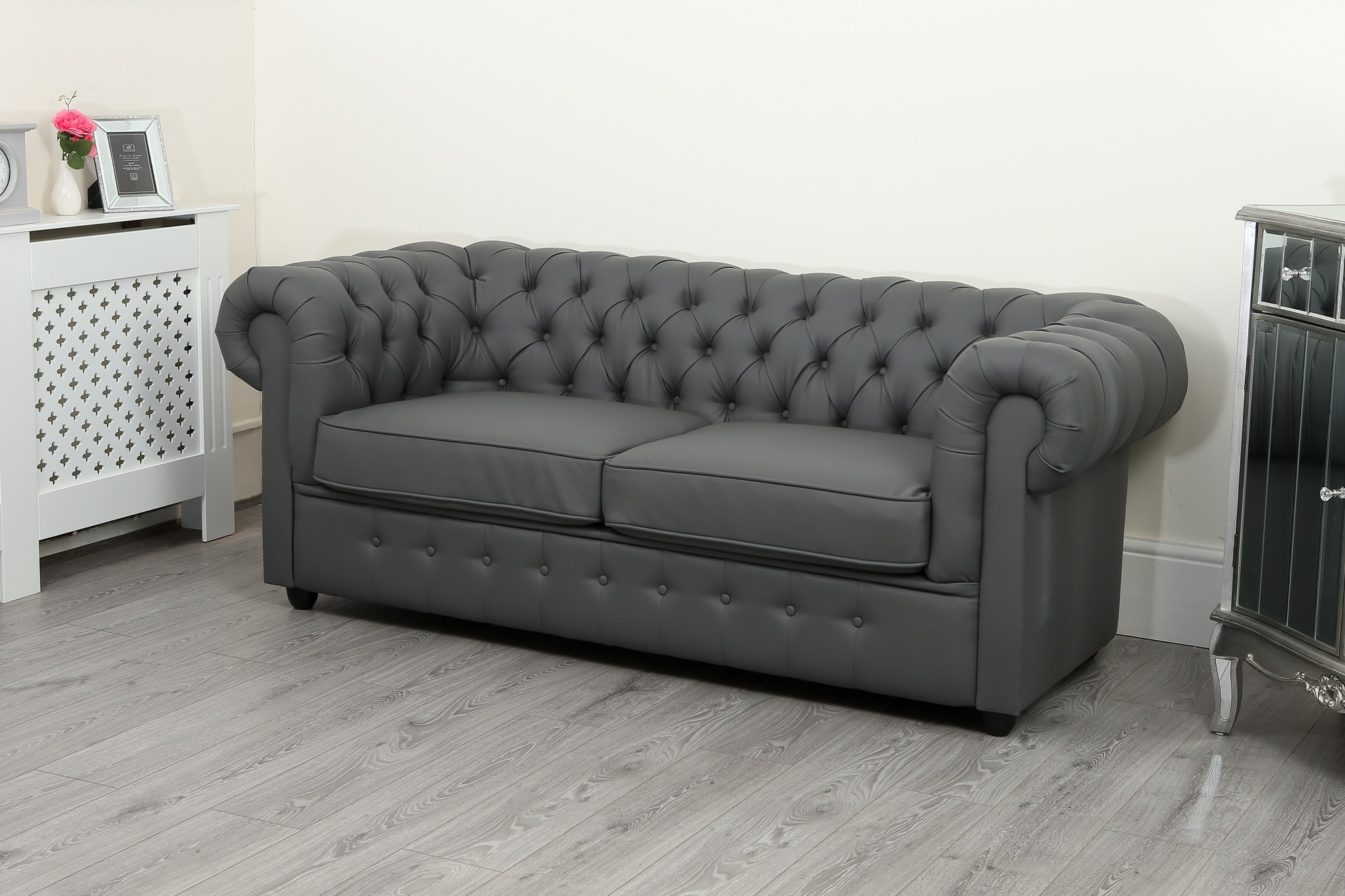 Empire Grey Faux Leather Chesterfield Sofa Suite Abreo Within Leather Chesterfield Sofas (View 10 of 15)