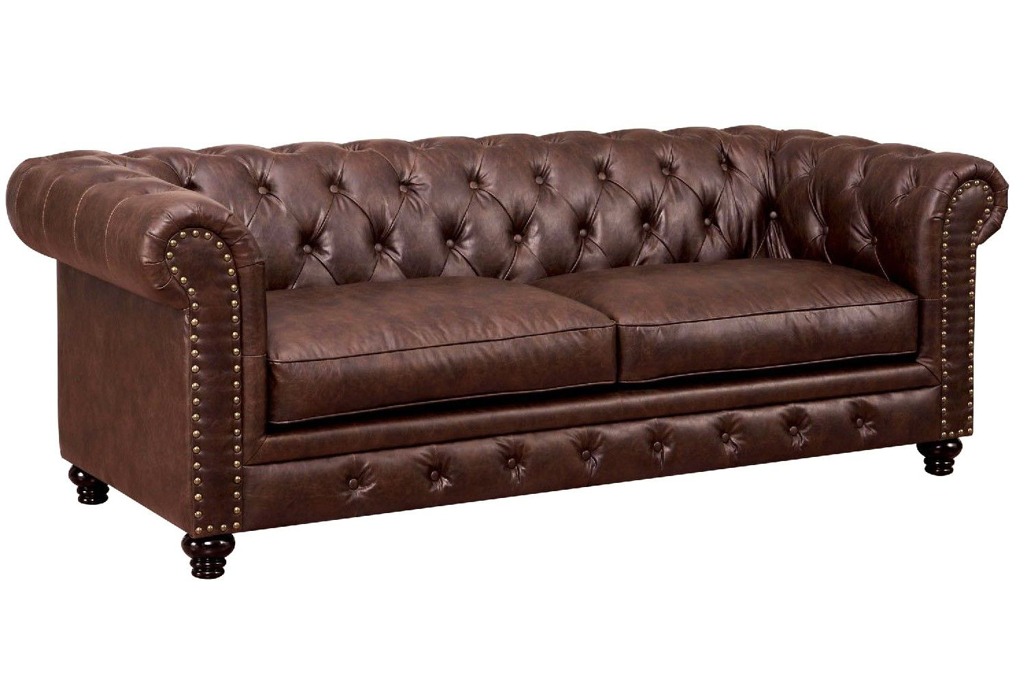 Eskridge Traditional Brown Chesterfield Sofa In Premium Pertaining To Chesterfield Sofas (View 11 of 15)