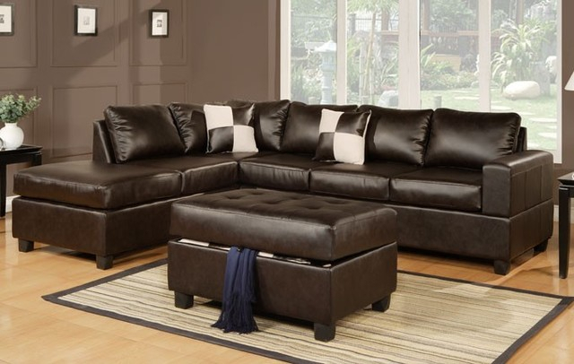 Espresso Leather Match Sectional Sofa With Reversible Regarding Celine Sectional Futon Sofas With Storage Camel Faux Leather (View 7 of 15)