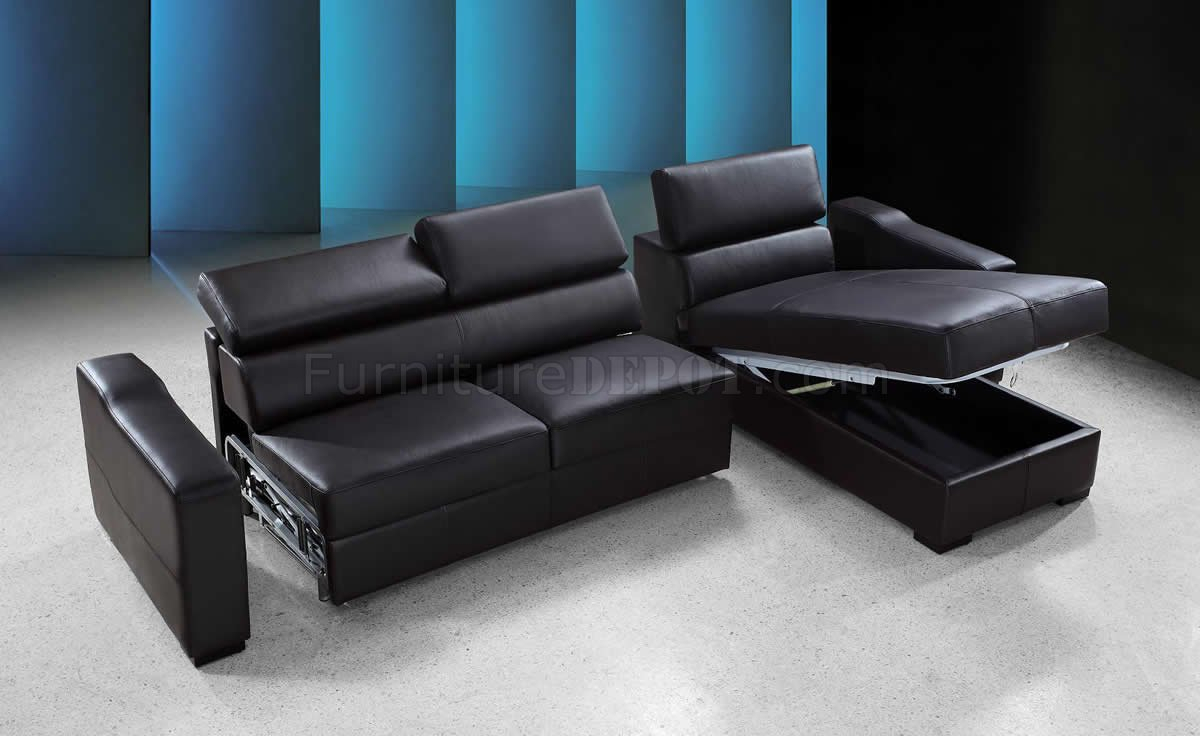 Espresso Leather Modern Sectional Sofa Bed W/Storage With Palisades Reversible Small Space Sectional Sofas With Storage (View 14 of 15)