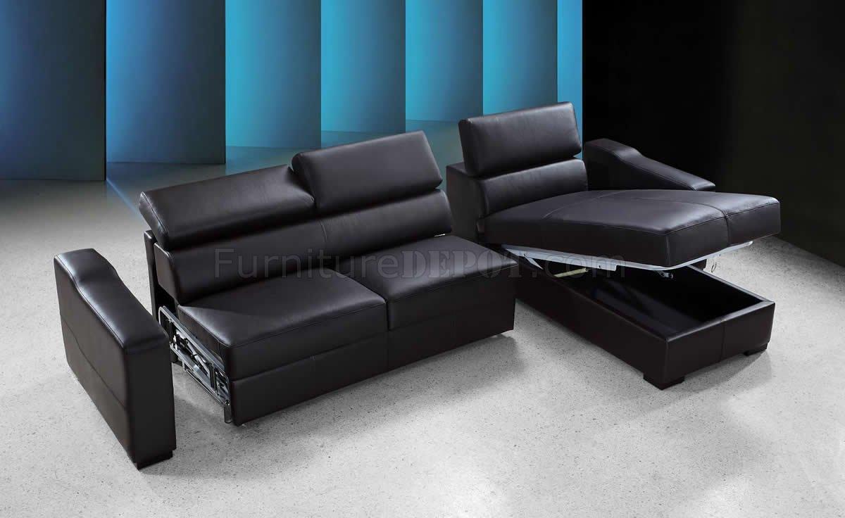 Espresso Leather Modern Sectional Sofa Bed W/Storage Within Prato Storage Sectional Futon Sofas (View 8 of 15)