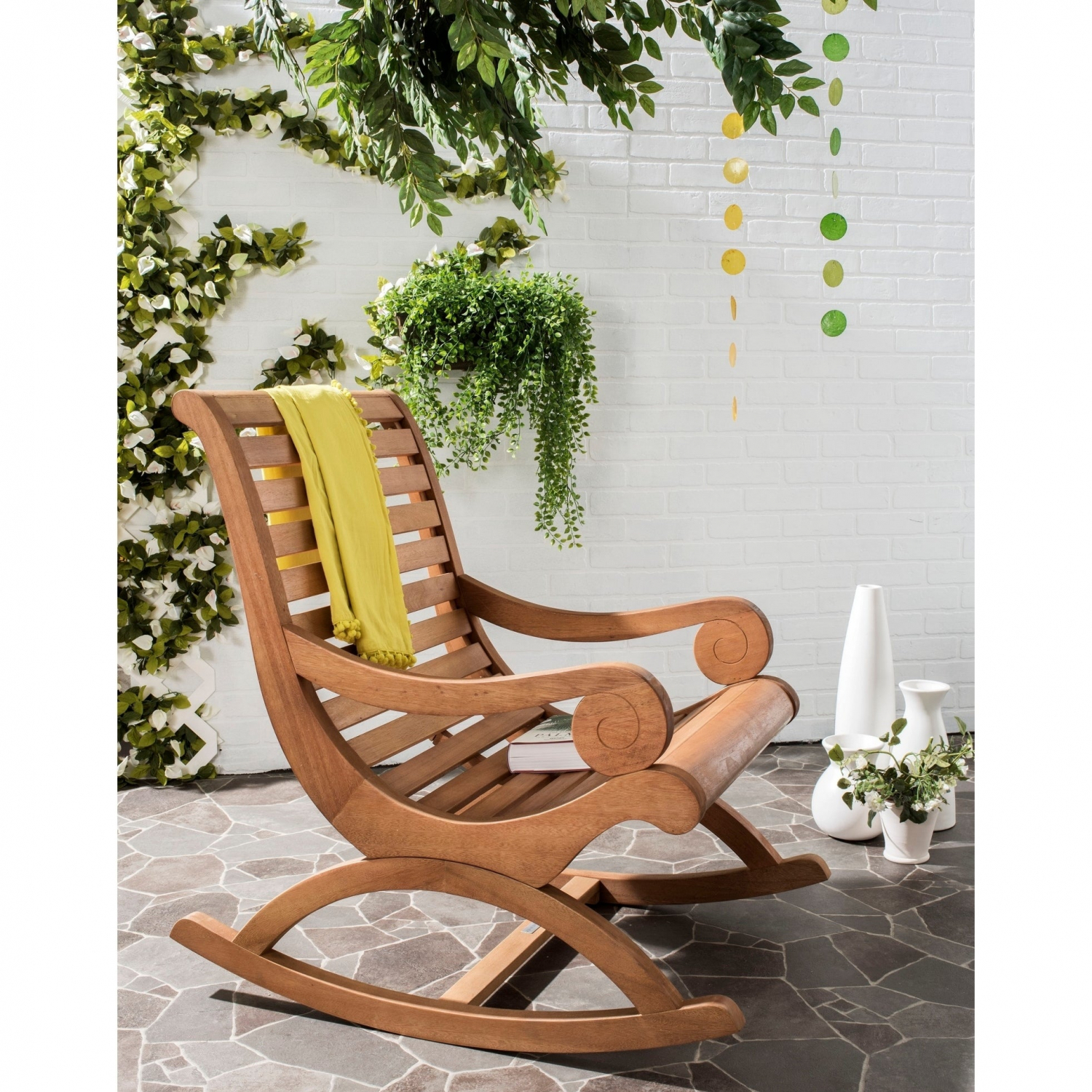 Eucalyptus Wood Rocking Chair Plantation Porch Patio Pertaining To Rocking Sofa Chairs (View 7 of 15)