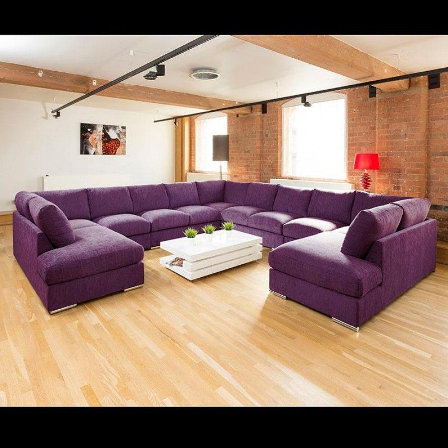 Extra Large Unique Sofa Set Corner Group C Shape Purple 4 In Extra Large Sectional Sofas (View 9 of 15)