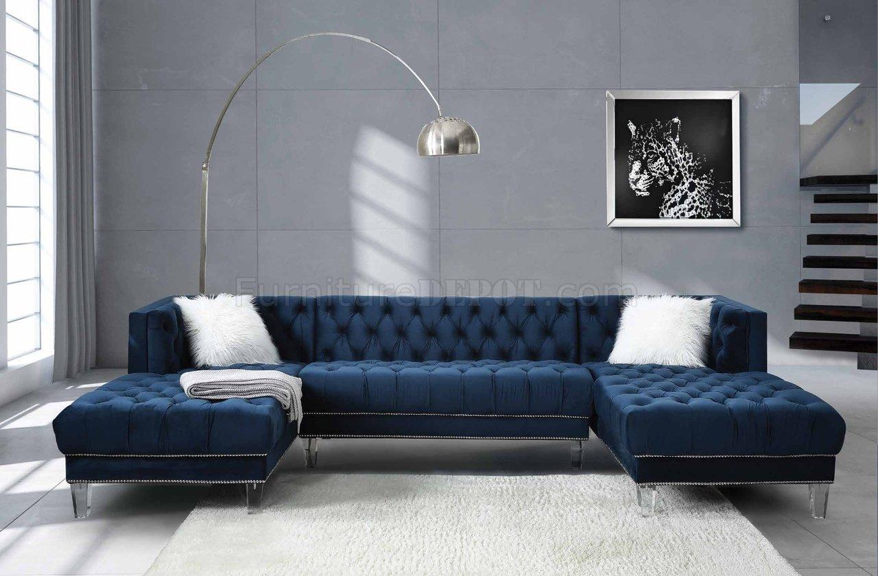 Ezamia Sectional Sofa 57365 In Navy Blue Velvetacme With Strummer Velvet Sectional Sofas (View 2 of 15)
