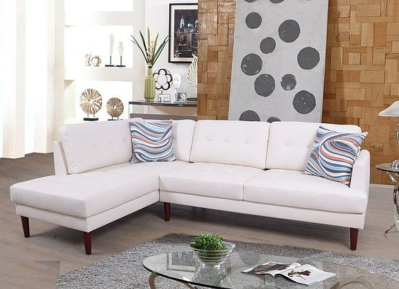 F6007A 2 Pc Lifestyle White Faux Leather Sectional Sofa For 2Pc Connel Modern Chaise Sectional Sofas Black (View 8 of 15)