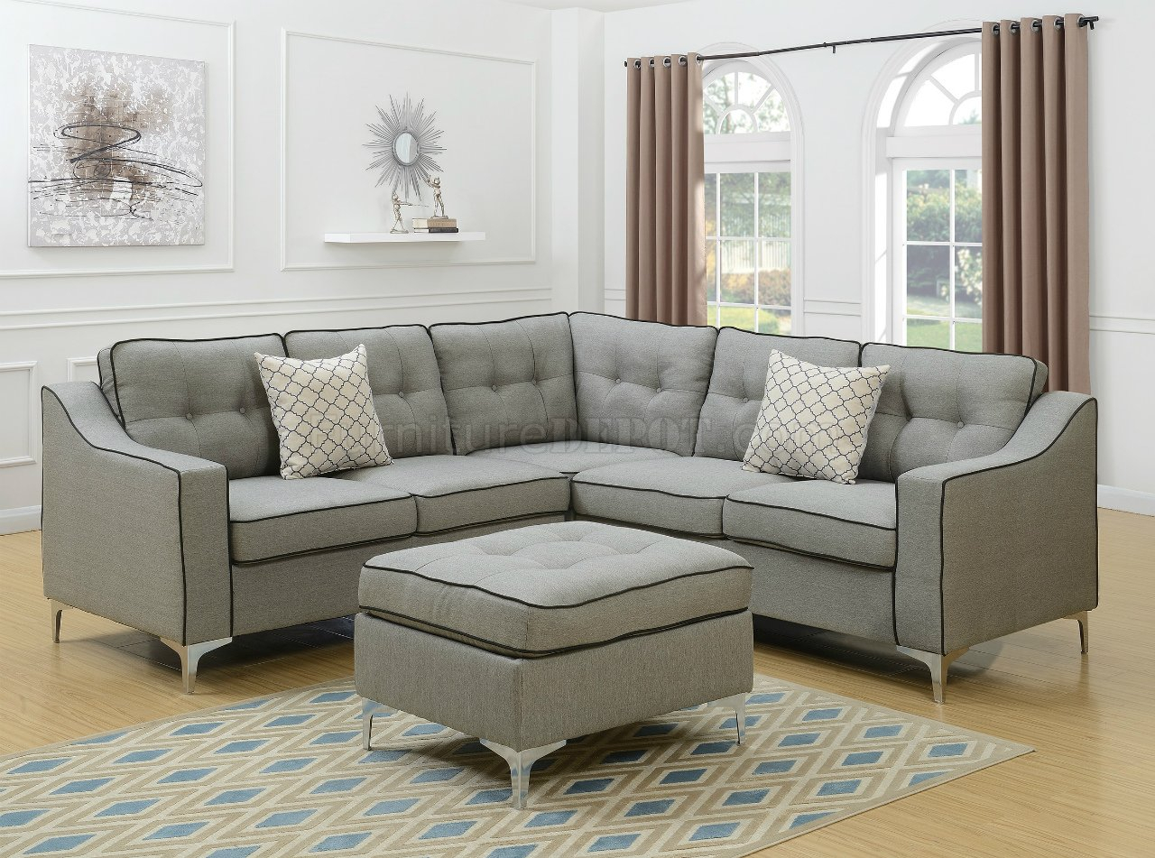 F6998 Sectional Sofa In Light Gray Fabric W/ Ottomanboss Intended For Polyfiber Linen Fabric Sectional Sofas Dark Gray (View 8 of 15)