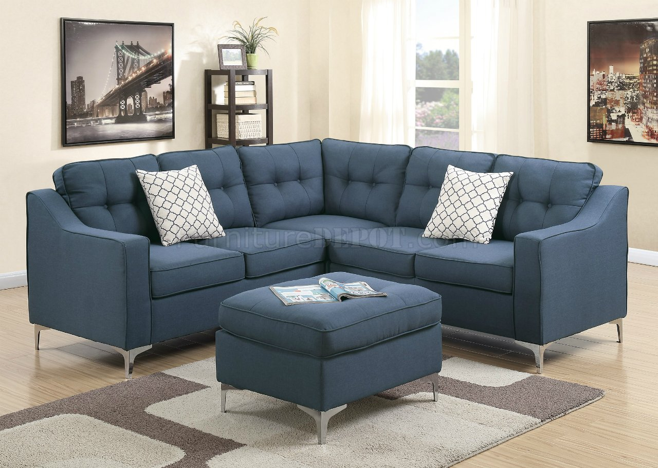 F6999 Sectional Sofa In Navy Fabric W/ Ottomanboss Pertaining To Sectional Sofas (View 7 of 15)