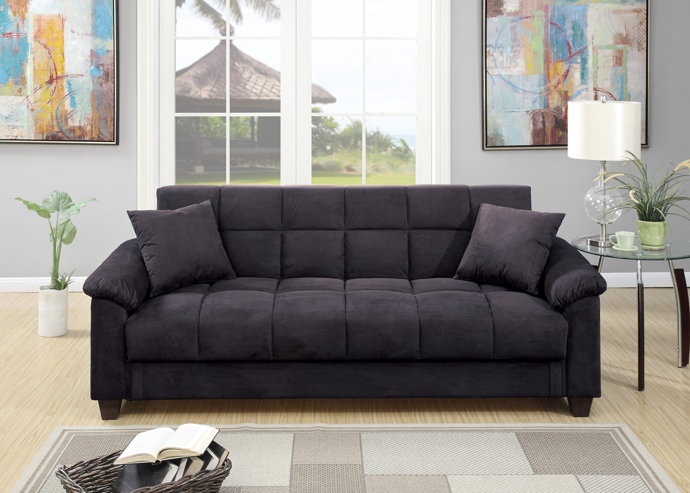 F7888 Ebony Convertible Sofa Bedpoundex Intended For Convertible Sofas (View 4 of 15)