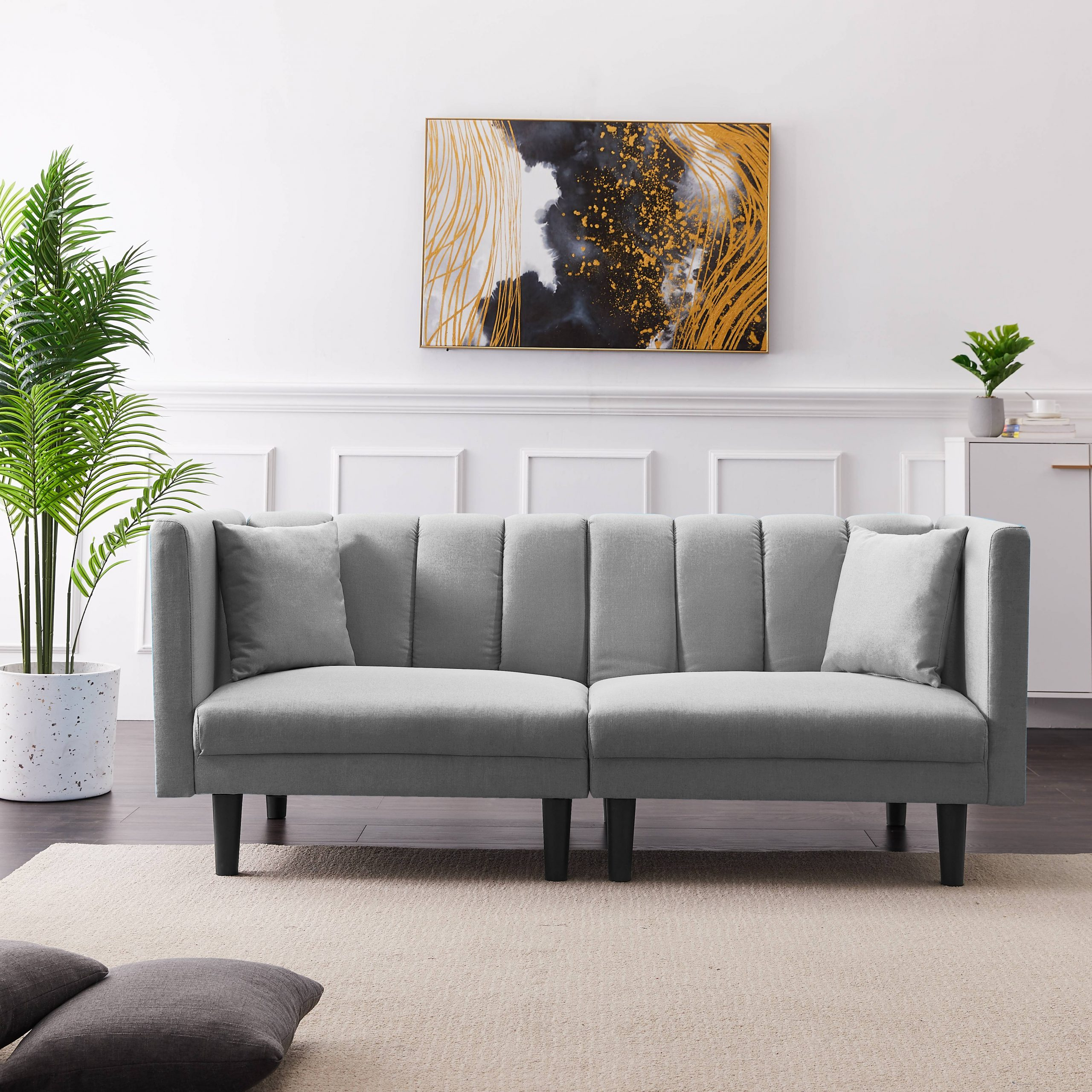 Fabric Futon Sofa Bed, Twin Sofa Sleeper Bed With Armrest For Convertible Sectional Sofas (View 7 of 15)