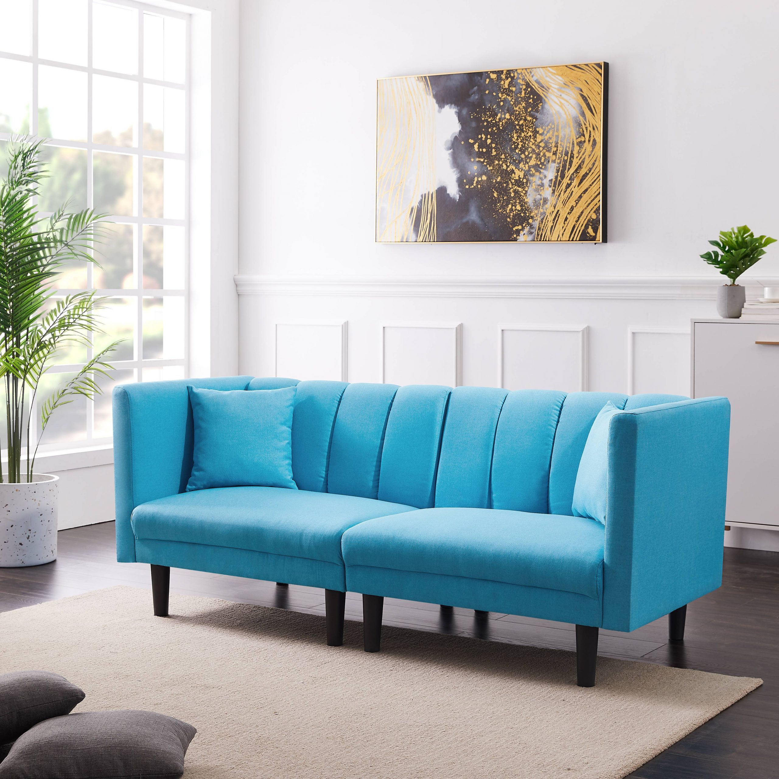 Fabric Futon Sofa Bed, Twin Sofa Sleeper Bed With Armrest Intended For Convertible Sofas (View 11 of 15)