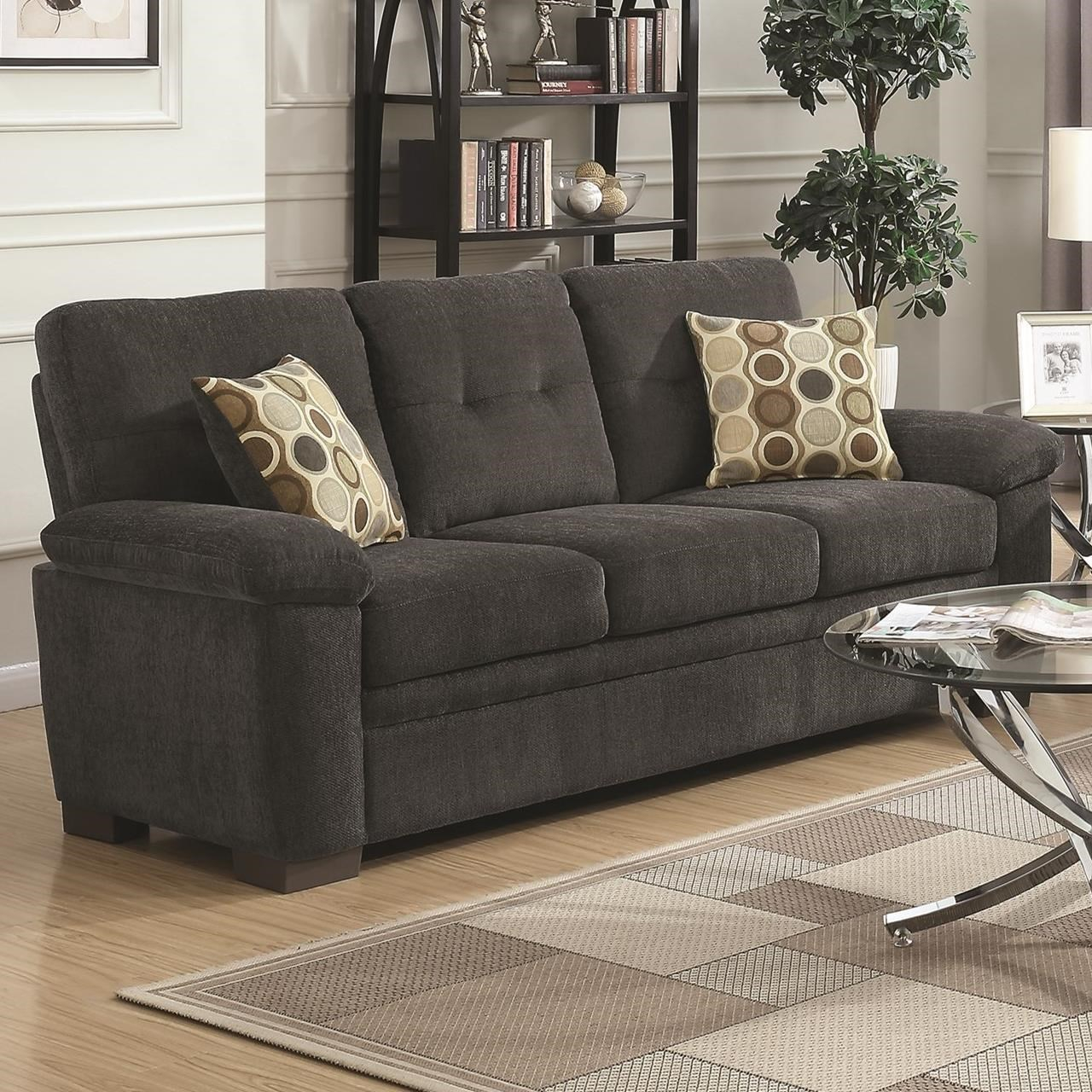 Fairbairn Sofa Casual Style Dark Grey Fabric 506584 Inside Casual Sofas And Chairs (View 7 of 15)