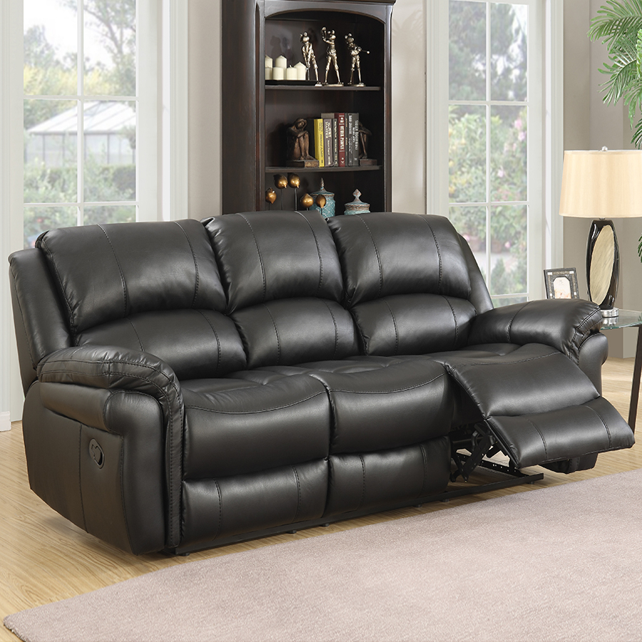 Farnham Black Leather Sofa 3 Seat | Low Prices & Free Delivery Within 3 Seater Leather Sofas (View 12 of 15)