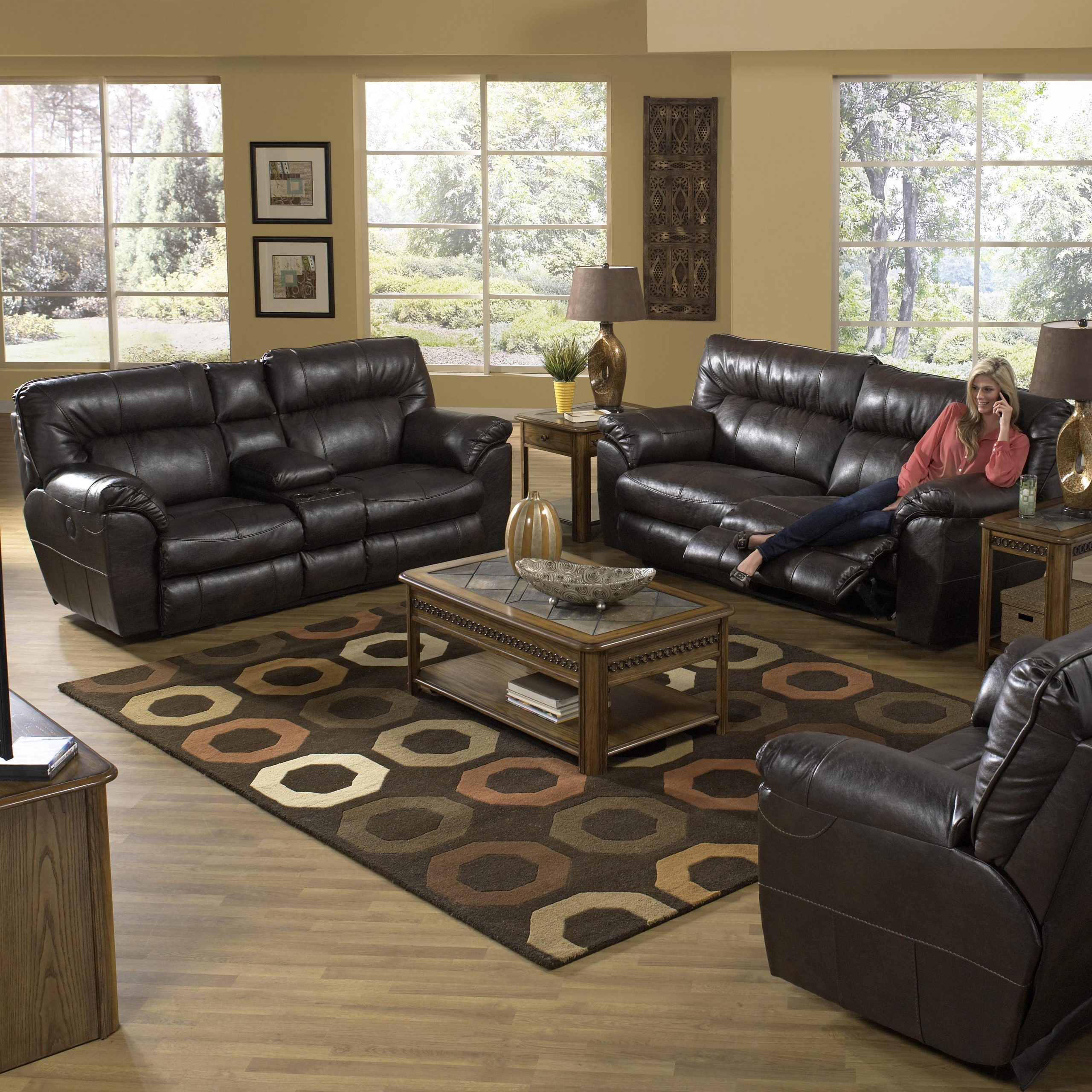 Faux Leather Extra Wide Reclining Sofacatnapper | Wolf For Wide Sofa Chairs (View 12 of 15)