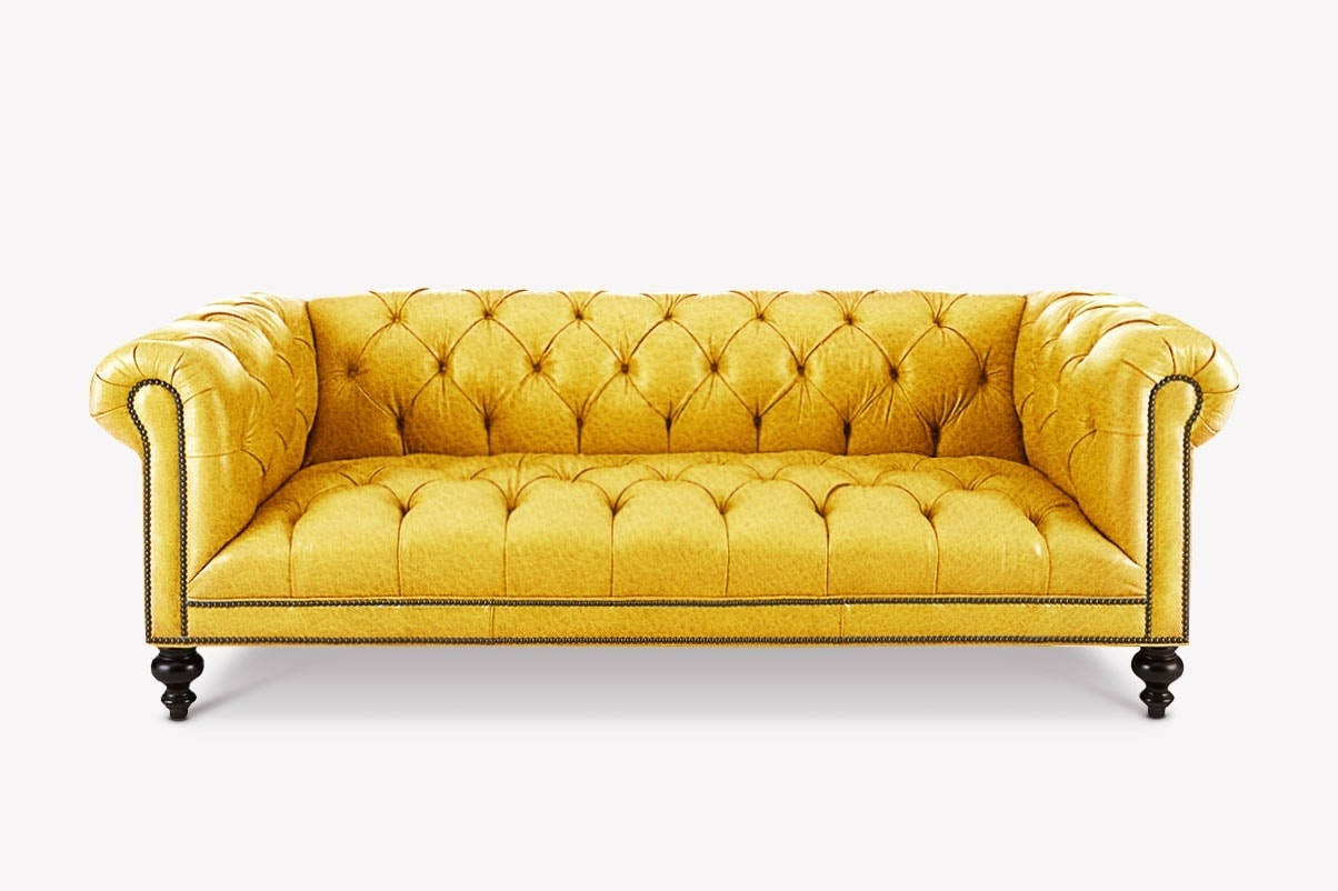 Fitzgerald Yellow Leather Chesterfield Sofa With Tufted Throughout Yellow Sofa Chairs (View 9 of 15)