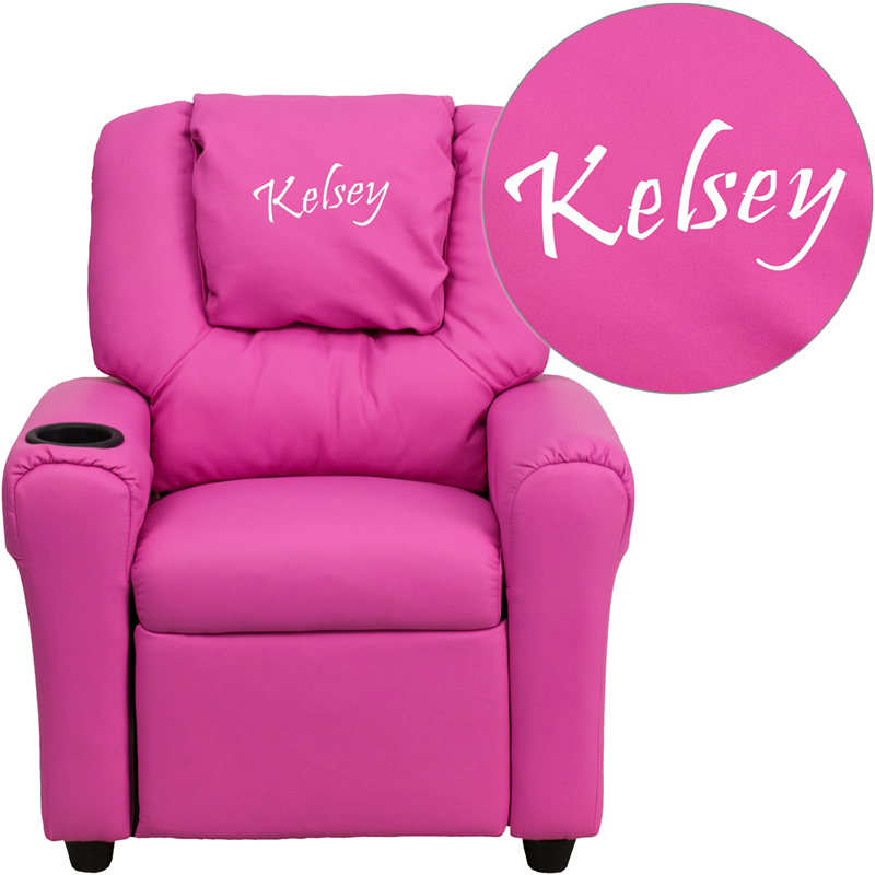 Flash Furniture Dg Ult Kid Hot Pink Txtemb Gg Personalized Within Personalized Kids Chairs And Sofas (View 5 of 15)
