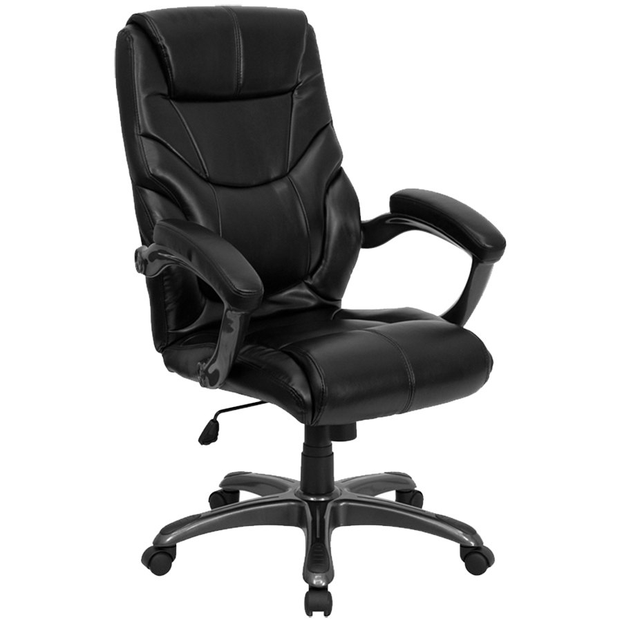 Flash Furniture Go 724H Bk Lea Gg High Back Black Leather Within Overstuffed Sofas And Chairs (View 10 of 15)