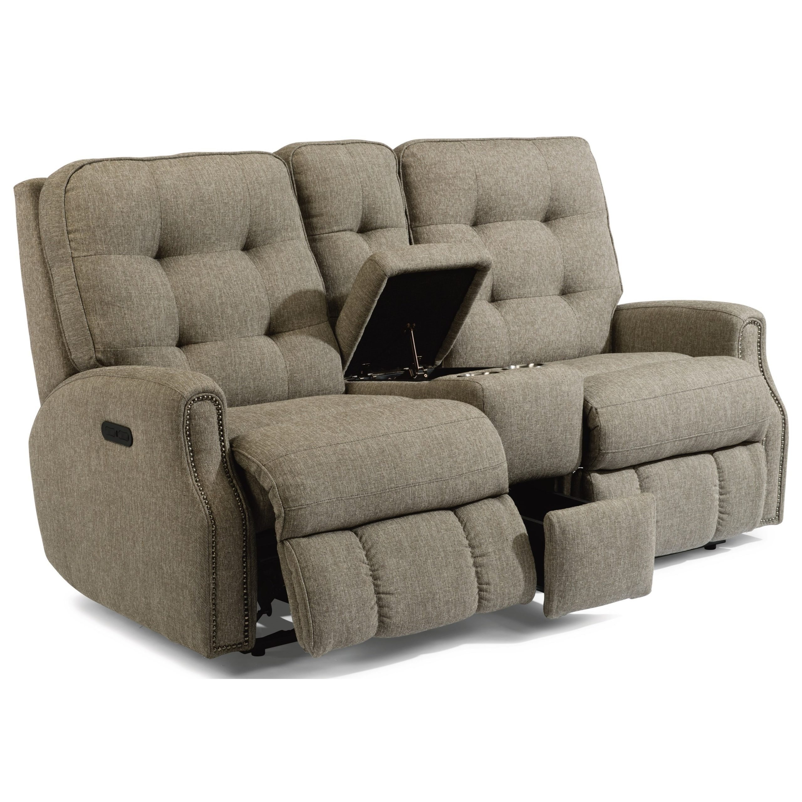 Flexsteel Devon Button Tufted Power Reclining Loveseat For Expedition Brown Power Reclining Sofas (View 10 of 15)