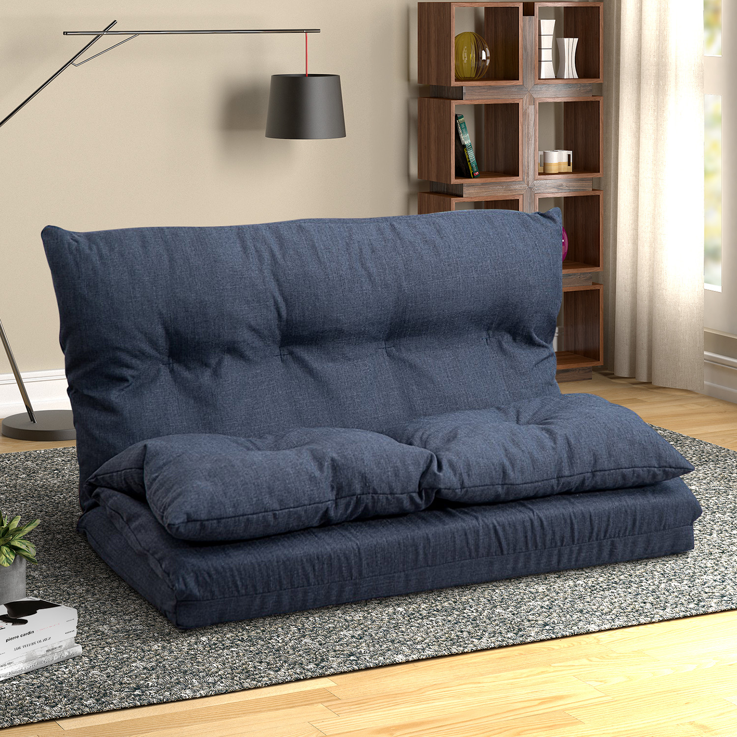 Floor Sofa Bed, Foldable Double Chaise Lounge Sofa Chair Inside Sofa With Chairs (View 10 of 15)