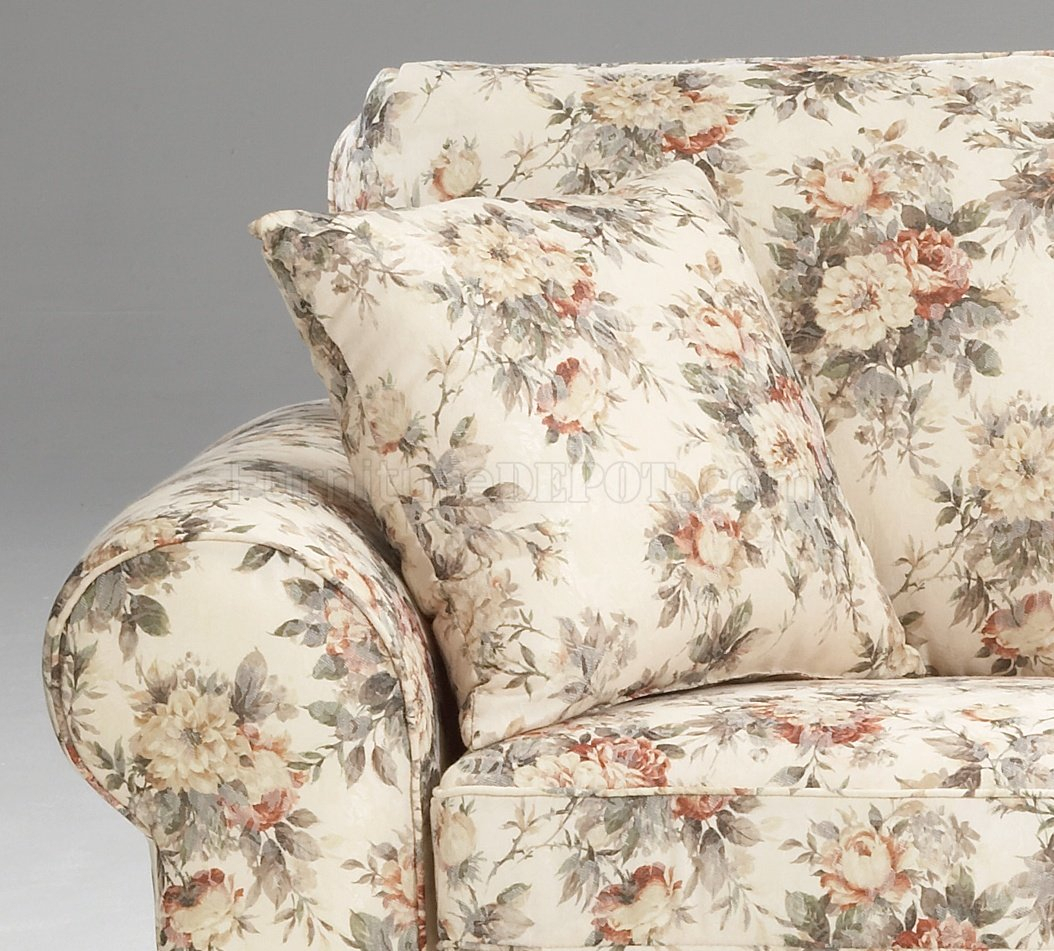 Floral Pattern Fabric Traditional Sofa & Loveseat Set Within Floral Sofas And Chairs (View 12 of 15)
