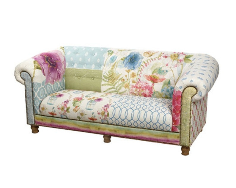 Floral Sofa 2 3 Seater Chesterfield Shabby Chic Country   Etsy In Shabby Chic Sofas (View 8 of 15)